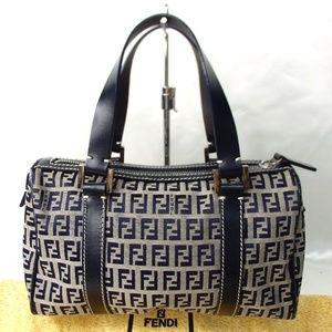 Authentic FENDI Zucchino Handbag Canvas Vintage